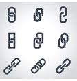 black chain or link icon set vector image