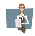 business woman pointing at document contract vector image vector image