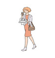business woman reading newspaper and holding vector image vector image