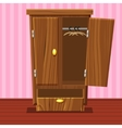 Cartoon empty open wardrobe Living room wooden vector image