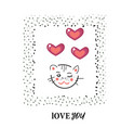 cat kitty love character design funny vector image vector image
