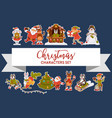 christmas characters santa clause animals and vector image