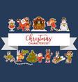 christmas characters santa clause animals vector image vector image