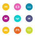 crab meat icons set flat style vector image