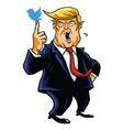 donald trump with his blue bird cartoon vector image vector image