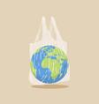 earth globe in transparent plastic bag plastic vector image