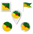 french guiana round flag vector image vector image