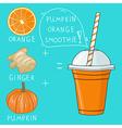 Glass with pumpkin orange smoothie Natural bio vector image