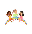 happy children sitting on the rainbow cute little vector image vector image