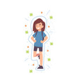 happy cute girl reflecting bacterias and viruses vector image
