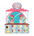 ice cream salesman in kiosk character vector image
