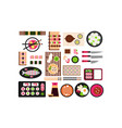 japanese food set asian cuisine dishes top view vector image vector image