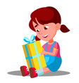 little girl opening gift christmas box vector image vector image