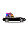 luxury black modern cartoon cabriolet car full of vector image