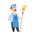 male janitor in uniform mopping floor man cleaner vector image vector image