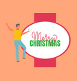 merry christmas poster man celebrate new year vector image