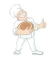 Moustached Baker Holding Bread vector image