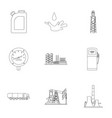 oil industry set icons in outline style big vector image