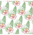 pattern of tropical leaves and flowers vector image