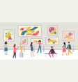 people in gallery walking tourists and expo vector image vector image