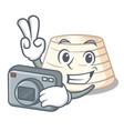 photographer italian ricotta cheese on mascot vector image