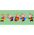 pig cartoon character in the clothes in different vector image vector image