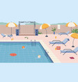 pool party with umbrella scene and furniture vector image
