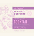 premium quality seafood delights cocktail vector image vector image