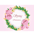 Round frame with delicate pink flowers vector image