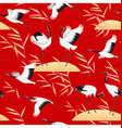 seamless pattern with birds and reed on red vector image vector image