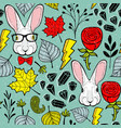 seamless pattern with rabbits in eyeglasses vector image vector image