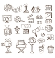 set of hand drawn cinema doodles vector image vector image