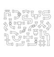 set of pipeline element in line art style vector image vector image