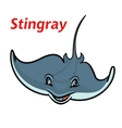 Swimming cartoon deepwater stingray fish vector image vector image