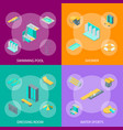 swimming pool elements 3d banner set isometric vector image vector image