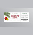 ticket stub for christmas party vector image vector image