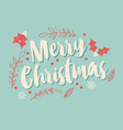 typographic merry christmas card with floral vector image vector image