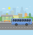 urban landscape with of public bus vector image