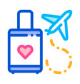 valise and airplane honeymoon trip icon vector image