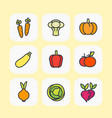 vegetables icons set flat style with outline vector image vector image