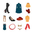 women clothing cartoon icons in set collection for vector image