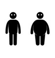fat and thin man normal weight and overweight man vector image