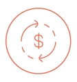 Dollar symbol with arrows line icon vector image