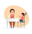 mom and her child visit restaurant order food vector image