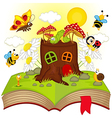 open book with house stump and insects vector image