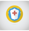 Flat icon with red cross vector image