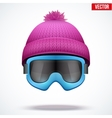 Knitted woolen cap with snow goggles Winter vector image
