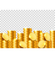 a lot of coins on a transparent background vector image vector image