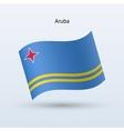 Aruba flag waving form vector image vector image