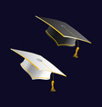 black and white student caps graduation hat vector image